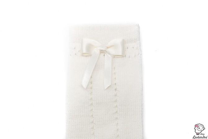 Calcetines color Marfil calados con lazo