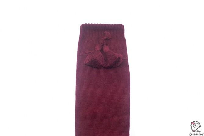 Calcetines altos con borlas Granate