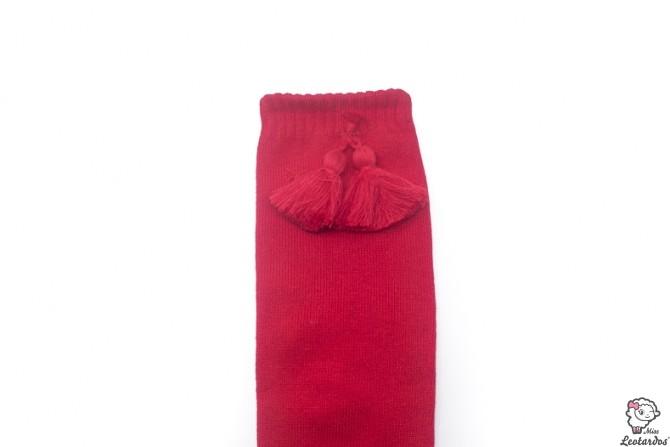 Calcetines altos con borlas Rojos