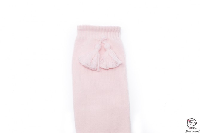 Calcetines altos con borlas Rosa