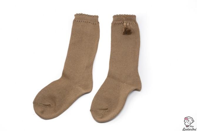 Calcetines altos perle con borlas Camel