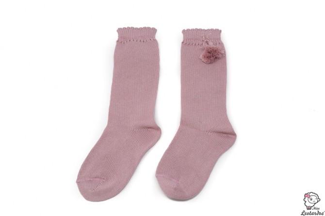 Calcetines altos perle con borlas Rosa Palo