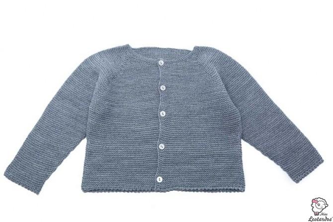chaqueta bebe punto bobo gris medio