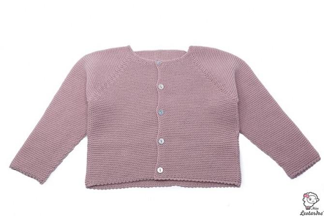 chaqueta bebe punto bobo rosa palo