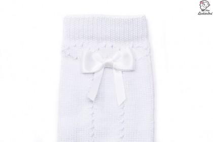 Calcetín alto con lazo blanco niña niño bebé