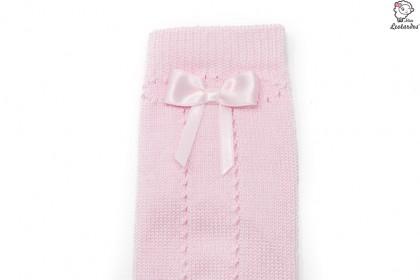 Calcetines rosas calados con lazo