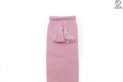 Calcetines altos con borlas Rosa Palo