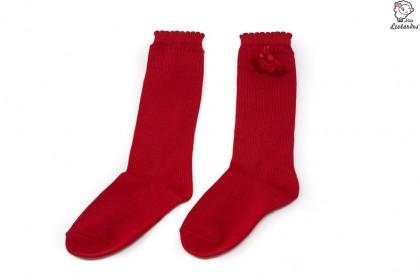 Calcetines altos perle con borlas Rojo