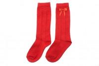 Calcetines rojos calados con lazo